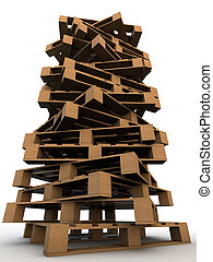 tower of wooden pallets over white background
