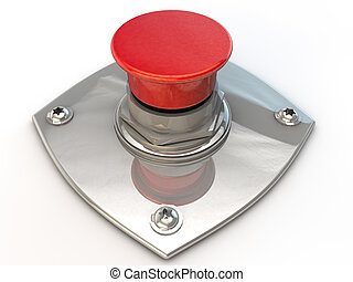 Emergency Button over white background