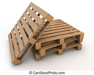 four wooden pallets over white background