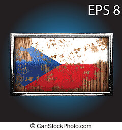 Vector flag on old wood - flag on old wood made in vector