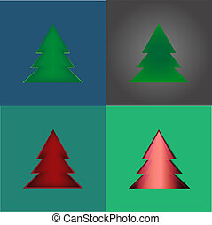 set Creative Christmas tree formed from paper Vector...