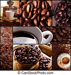 Coffe themed collage, coffee time, relax