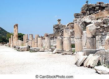 Pillars at Ephesus, Izmir, Turkey,