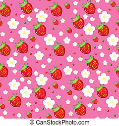 Seamless texture of strawberries - Seamless texture of red...