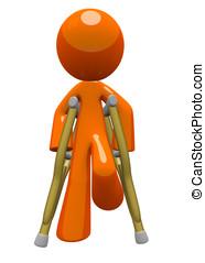 naranja, hombre, muletas, frente, vista