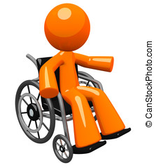 Orange Man in Wheel Chair Gesturing to Audience - An orange...