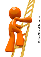Orange Man Climbing Gold Corporate Ladder