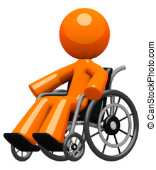 Orange Man in Wheel Chair Disabled or Impaired - Disability,...