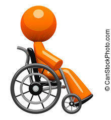 Orange Man In Wheel Chair Side View - Orange man, sick,...