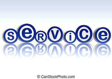 service in blue circles - 3d blue circles with letters makes...