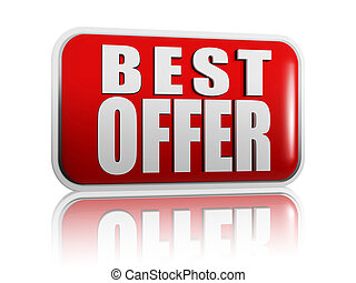 best offer banner - 3d red panel with white letters - best...