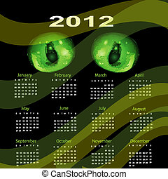 Calendar 2012 Dragon green eyes.