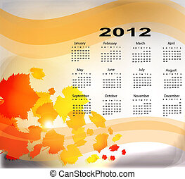 autunno, calendario, acero,  2012