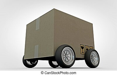 cardboard on whells - cardboard on wheels isolated on white...