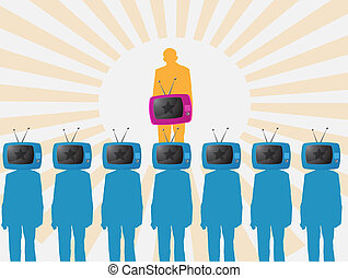 one person is watching TV vector illustration background