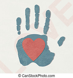Loving hand. abstract background