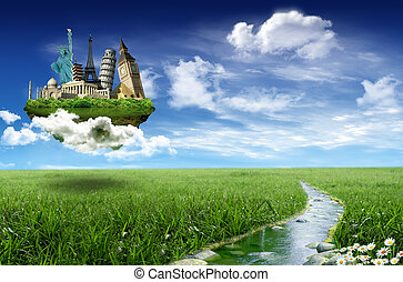 World landmarks on the island over the grassland with stream...