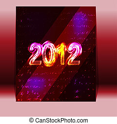 flyer on the new year 2012 in red. vector