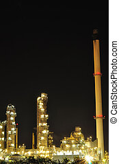 Petrochemical plant at night