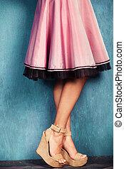 wedge high heel shoes - female legs in wedge high heel shoes...