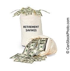 Tasche, Pensionierung, Spareinlagen