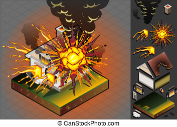 isometric House hit by explosion - Detailed illustration of...