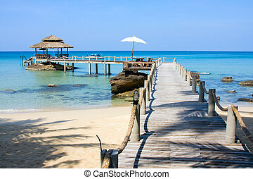 Wooden Pier In Tropical Paradise - Wooden pier in tropical...