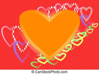 wielki, pomarańcza, serce