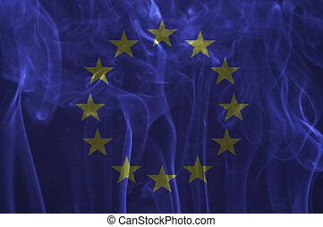 Euro flag overlay on smoke. - Euro flag overlay on smoke...