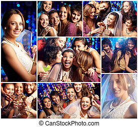 Bridal party - Collage of friends at the bridal party