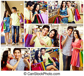 Romantic shopping - Collage of romantic couple with shopping...