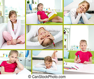 Girl at leisure - Collage of lovely girl spending free time...