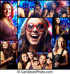 Cool clubbers - Collage of partying girls having fun in...