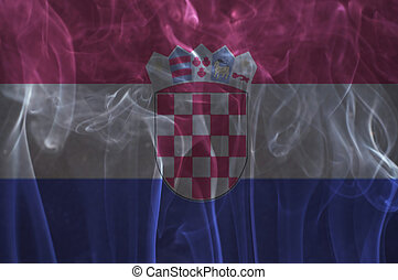 Croatia flag overlay on smoke. - Croatia flag overlay on...