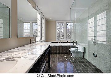 Master bath with glass shower - Master bath in modern home...