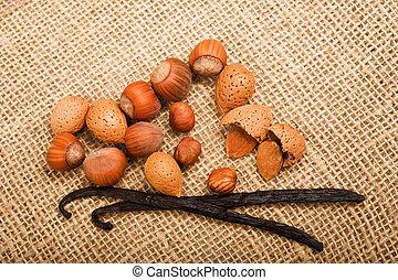 Hazelnuts,almond end vanilla on jute
