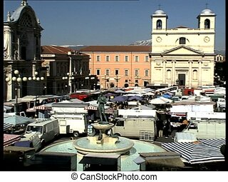 LAQUILA cathedral square l-r pan - The italian city of...