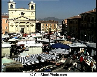 LAQUILA cathedral square r-l pan - The italian city of...