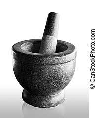 stone mortar and pestle, thai cooking tool on white...