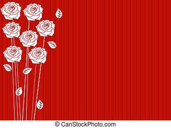 abstract red background with roses