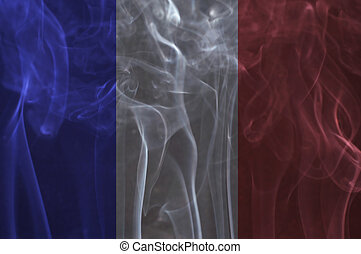 France flag overlay on smoke. - France flag overlay on smoke...