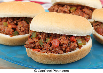 Sloppy Joe Sandwiches - Closeup of sloppy joe sandwiches on...