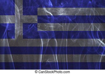 Greece flag overlay on smoke. - Greece flag overlay on smoke...
