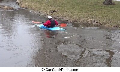 River rafting in early spring time