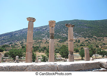 Pillars at Ephesus, Izmir, Turkey,