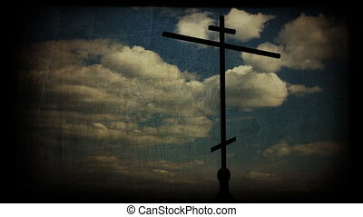 Cross with Heaven - Orthodox Cross with Timelapse Heaven...