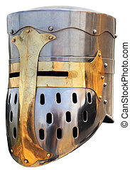 Medieval knights helmet3 - Medieval knights helmet on a...