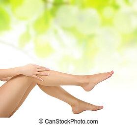pernas, sendo, massaged, mãos