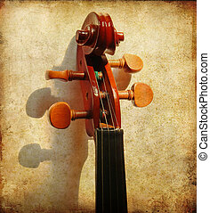 Details of violin head on grunge background