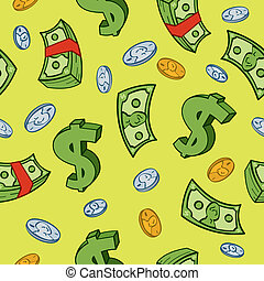 Seamless Cartoon Money Pattern - Seamless cartoon money and...